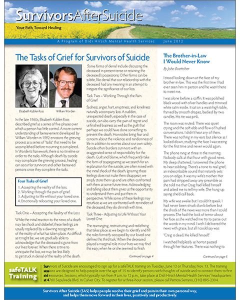 Survivors After Suicide Newsletter, Spring 2012