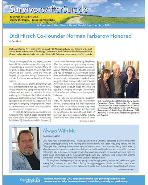 Survivors After Suicide Newsletter, Summer 2014