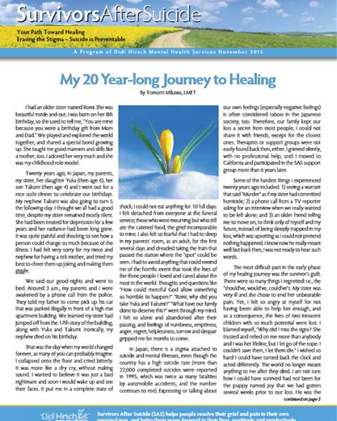 Survivors After Suicide Newsletter, Fall 2015
