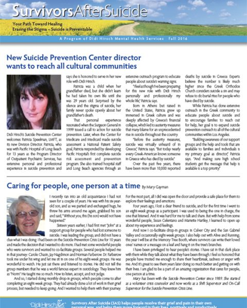 Survivors After Suicide Newsletter, Fall 2016